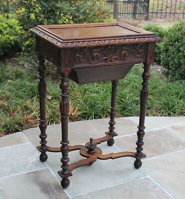 Antique French Oak Renaissance Revival Lift Top Sewing Table Nightstand Vanity
