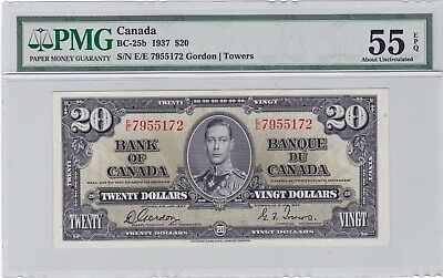 1937  Bank of Canada $20 Note  BC-25b  Graded by PMG AU-55
