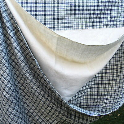 ANTIQUE Blue Check Homespun Duvet Case Feather Bed cover tick Sheet Back