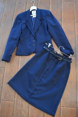 Vintage 1970S,college Town Union Made Womens Navy Blue Blazer Skirt Suit,5/6