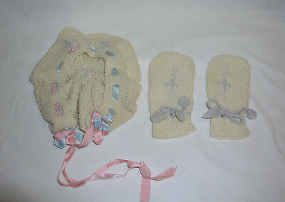 1940s 1950s Child Hand Knitted Hat Beige No Thumb Mittens Vintage