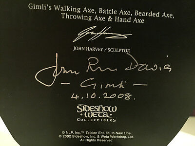 Signed Sideshow Weta ARMS OF GIMLI Lord of the Rings LotR Hobbit Weapons Set Rar