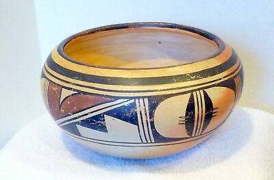 """Antique Native American Indian Hopi Bowl Coiled & Hand painted 6"""" Very Nice"""
