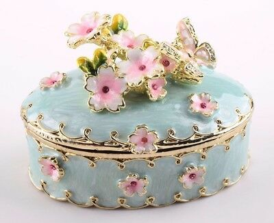 Turquoise Flower Faberge trinket box hand made by Keren Kopal & Austrian crystal
