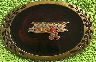 Vintage American Buckles Bi-Plane Solid Brass Belt Buckle w/ Acylic color