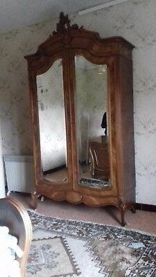 Antique French armoire wardrobe, sculpted cornice, 200+ y.o. distressed mirrors