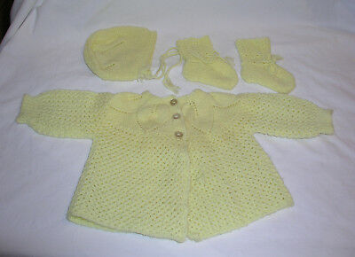 1960s 1970s Infant Child Doll Hand Knitted Sweater Cap Booties Set Vintage