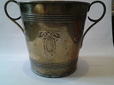 vintage Art Nouveau brass wine / champagne cooler bucket