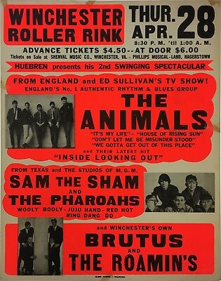 The Animals 1966 Sam the Sham Original Boxing Style Concert Poster