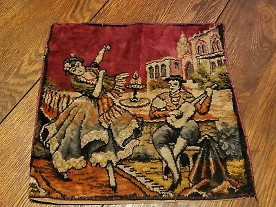 Vintage Lady and Man playing Mandolin Tapestry Pillow cover