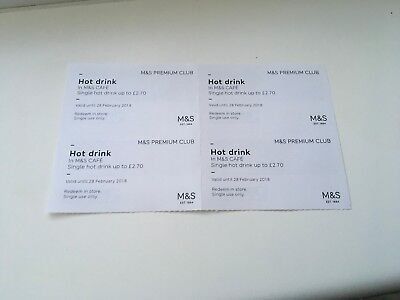 Marks and Spencer (M&S) Hot Drinks Vouchers x4