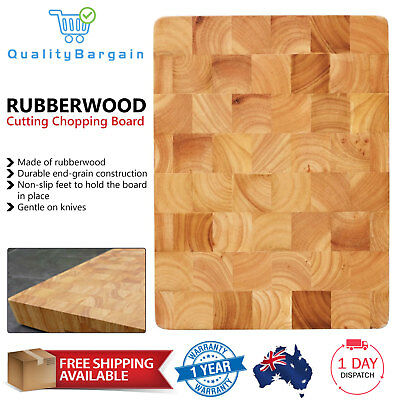 Rubberwood Cutting Chopping Board Natural Wooden Kitchen Personalised End Grain