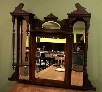 Large Victorian Style Over Mantle Mirror and Shelves. Hard Wood