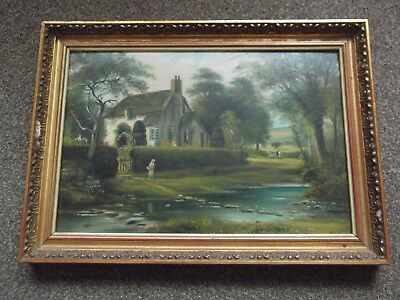 Vintage Oil On Board Signed Norman Willis Pryce Painting Of A River Cottage