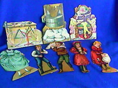 8 Antique Lion Coffee Paper Dolls-Ole King Cole,Bicycle+more-album removals