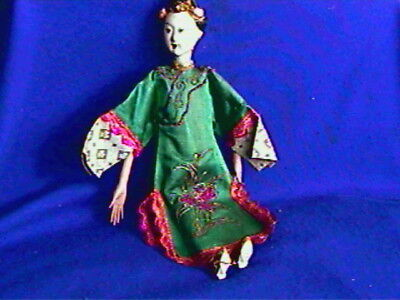 Antique Chinese Opera Doll-silk embroidered costume-nice condition-10 in
