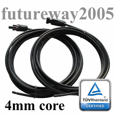 Solar Panel 4mm Cable 2 x 5m Extensions With MC4 Connectors For Caravan Boat