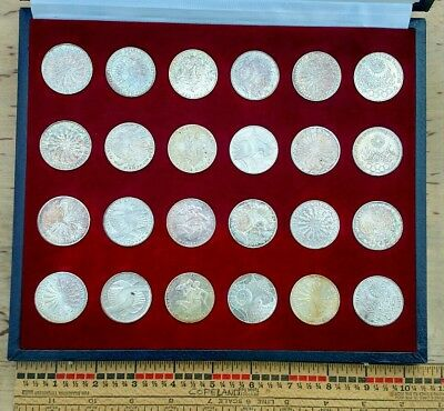1972 Germany Munich Olympic Proof Set Silver 10 Mark Coins 24 piece 15g each