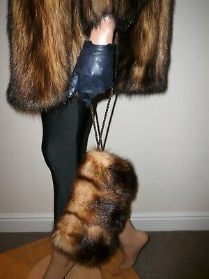 Genuine Vintage Real Fitch German Sable Fur Muff Clutch Bag Hand Warmer For Coat