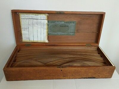 Antique Mahogany Boxed Draughtsmans Pear Wood Railway Curves (99)~Stanley London