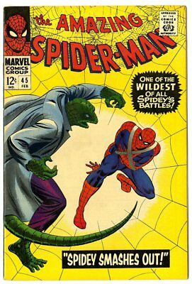 Amazing Spider-Man #45 NM- 9.2 white pages  vs. The Lizard  Marvel 1967  No Resv