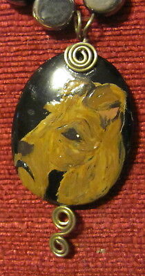 Irish Terrier hand painted on an oval, wire wrapped black gemstone pendant/bead/