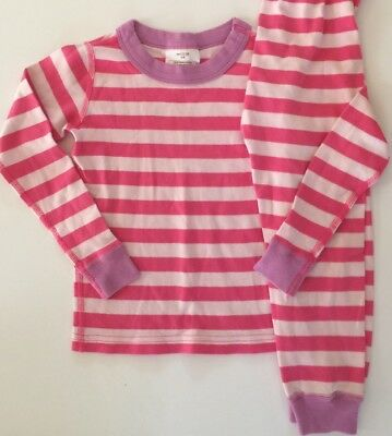 Hanna Andersson Girls Pajamas Pink Striped 2 Piece Size 100 (4)