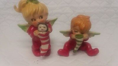 Vintage Lefton Christmas Angel Boy and Girl with Cat Peeking  into Stockings