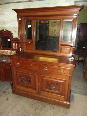 Edwardian Oak Mirrorbacked Sideboard