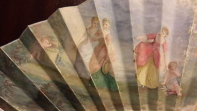 """Superb French Antique Hand Painted Silk Fan - Painting of Idyllic Scene 11"""""""