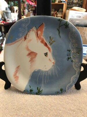 Minou-ettes White Orange Cat Plate 1985 Blue Background Long Whiskers