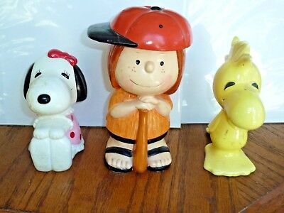 1970's Peppermint Patty, Belle & Woodcock 3 ceramic penny banks Peanuts & Snoopy