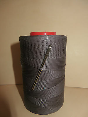 RITZA TIGRE WAXED HAND SEWING THREAD 1.0mm FOR LEATHER/CANVAS & 2 NEEDLES  GREY