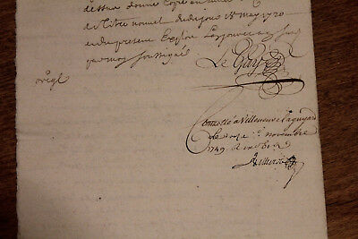 1749 black ink french manuscript king counsellor 4pp Amazing signing Rare Stamp