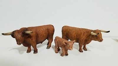 Schleich 13658 13659 13660 Scotish Highland bull cow cattle calf Retired