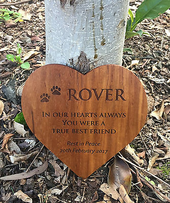 Heart Shape Pet Memorial Plaque personalised wood for outdoor use