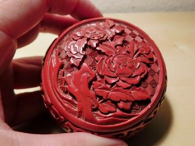 """Vtge Red """"Real"""" Cinnabar Round Box Carved with Lotus with Blue Enamel Inside"""