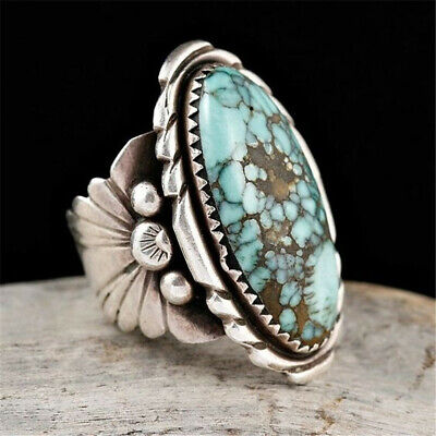 Vintage Women Jewelry 925 Silver Natural Turquoise Fashion Wedding Ring Sz6-10