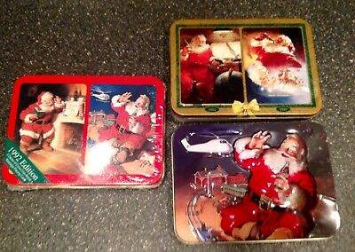 New, 3 COCA COLA 2 DECK NOSTALGIA PLAYING CARDS IN COLLECTOR TINS