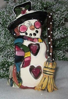 BLUE SKY CLAYWORKS SNOWMAN TEA LIGHT HOLDER 2002 Votive Candle Holder