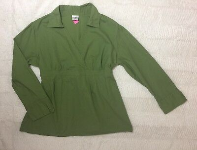 New MOTHERHOOD MATERNITY Size XL Top Stretchy Olive-green Long Sleeve Blouse