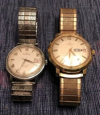 Helbros lot of Vintage Invincible And Day Date Mens Watches