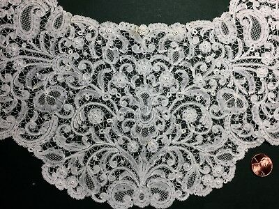 19th C Handmade Belgian Rosaline Perle bobbin lace collar COLLECT COSTUME