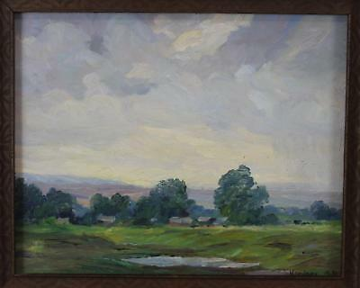 Small Antique HANS KLEIBER Impressionist American Western Landscape Oil Painting