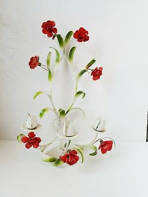 Antique Vintage Italian Tole Candle Sconce Red Green Flowers Floral