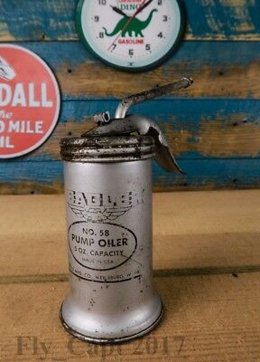 Vintage Eagle NO 58 Pump Oiler, oil can, 5 oz cap Made in USA  Wellsburg, WV