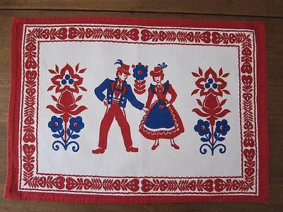 Vintage Tyrolean Or Austrian Traditional Costumes Placemat Or Dresser Mat
