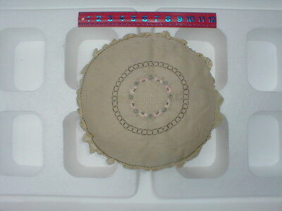 Vintage 1920's Lace Boudoir Embroidered Pillow - Round Shape
