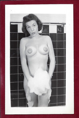 1950s Vintage Nude Photo~Busty Big Boobs Super Dark Puffy Nipples Pinup in Bath