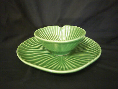 Olfaire Leaf Bowl and Plate Set Notched Green Portugal